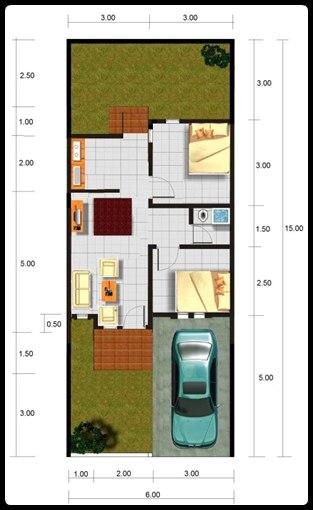 denah dan model desain rumah minimalis type 45