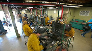 students in welding school