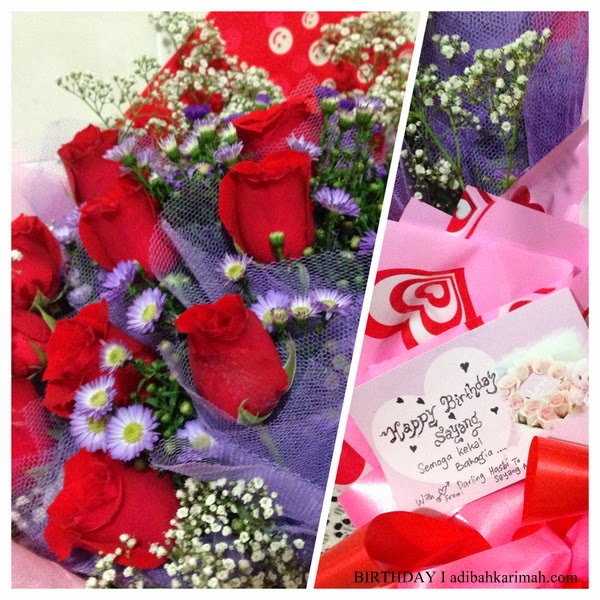 Jambangan bunga ros isitimewa sempena birthday Adibah Karimah