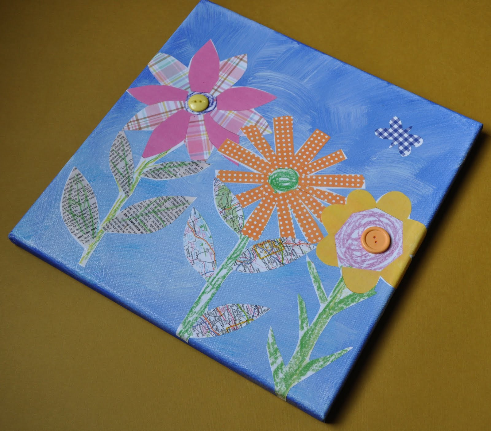 Art With Kids Collage Flowers On Canvas
