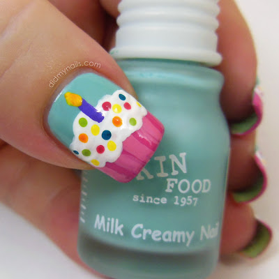 birthday cupcake nail art
