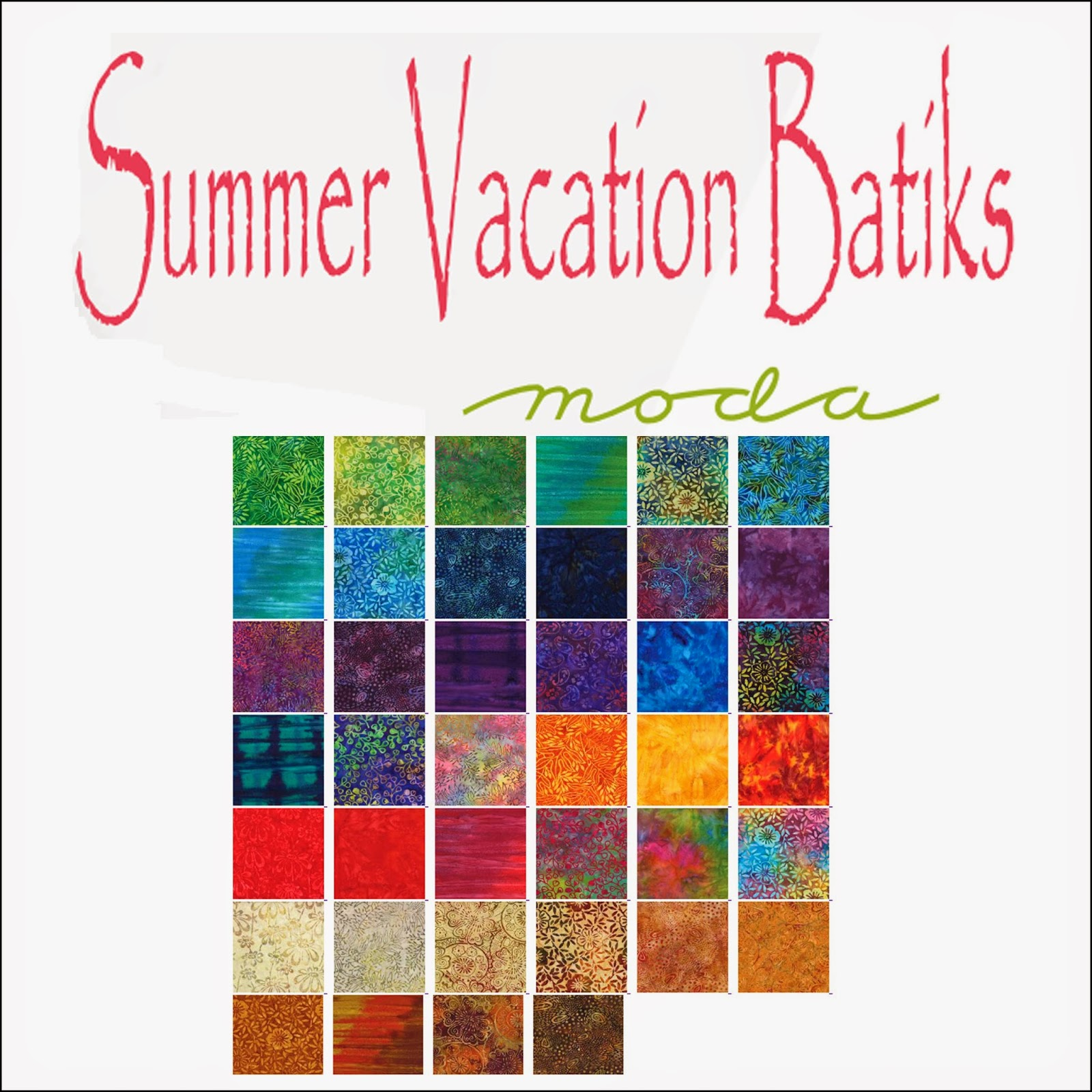 Moda SUMMER VACATION BATIKS Quilt Fabric by Moda Fabrics