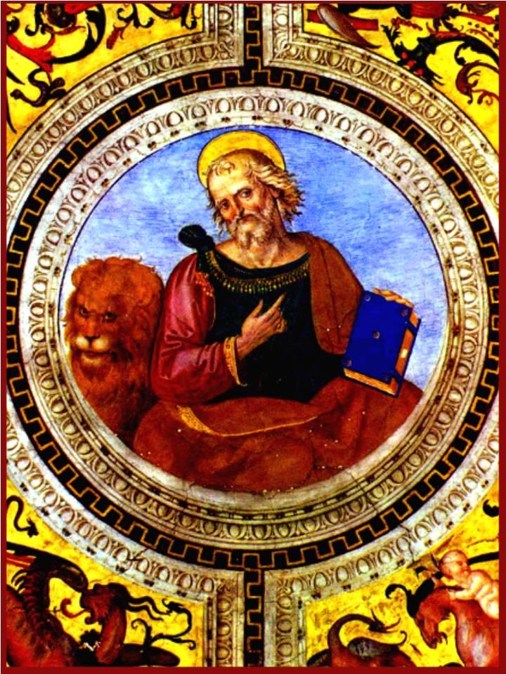 Descrição para deficientes visuais: Representação do Santo Marcos, Evangelista de Deus, segurando seu livro em uma mão e o outro apontando para o coração, o leão esta ao seu lado nesta imagem.