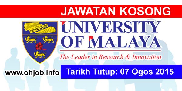 Jawatan Kerja Kosong Universiti Malaya (UM) logo www.ohjob.info ogos 2015