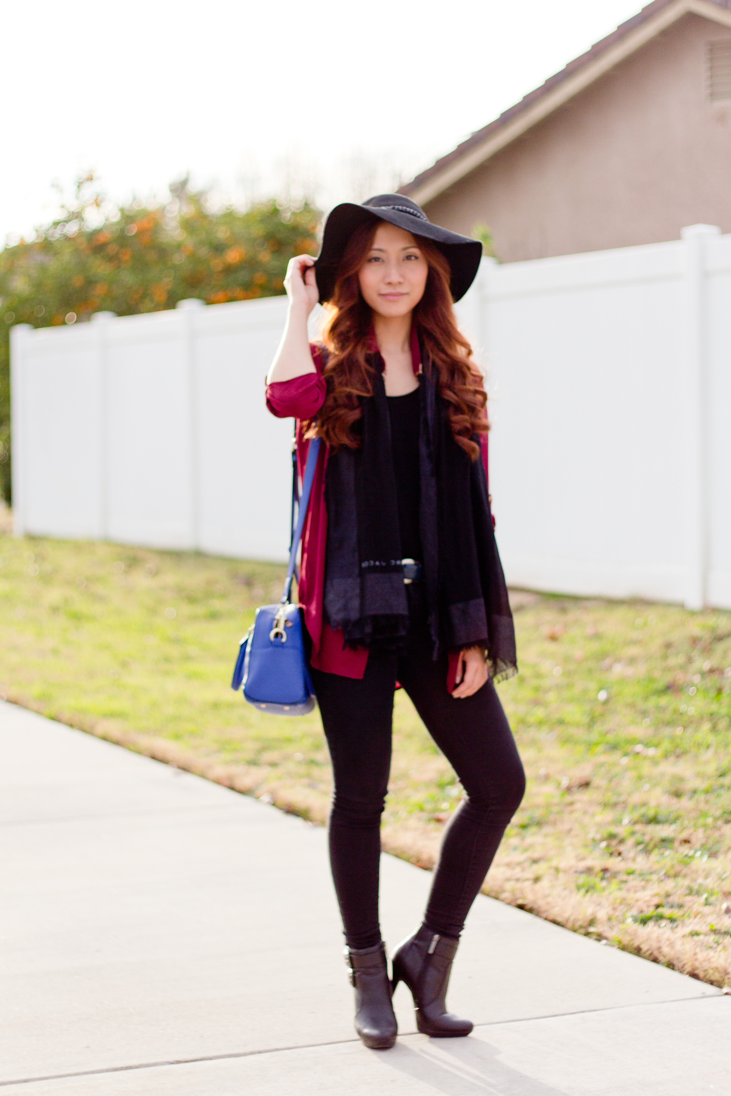 Black hat, boots, jeans, scarf Outfit of the Day Blog