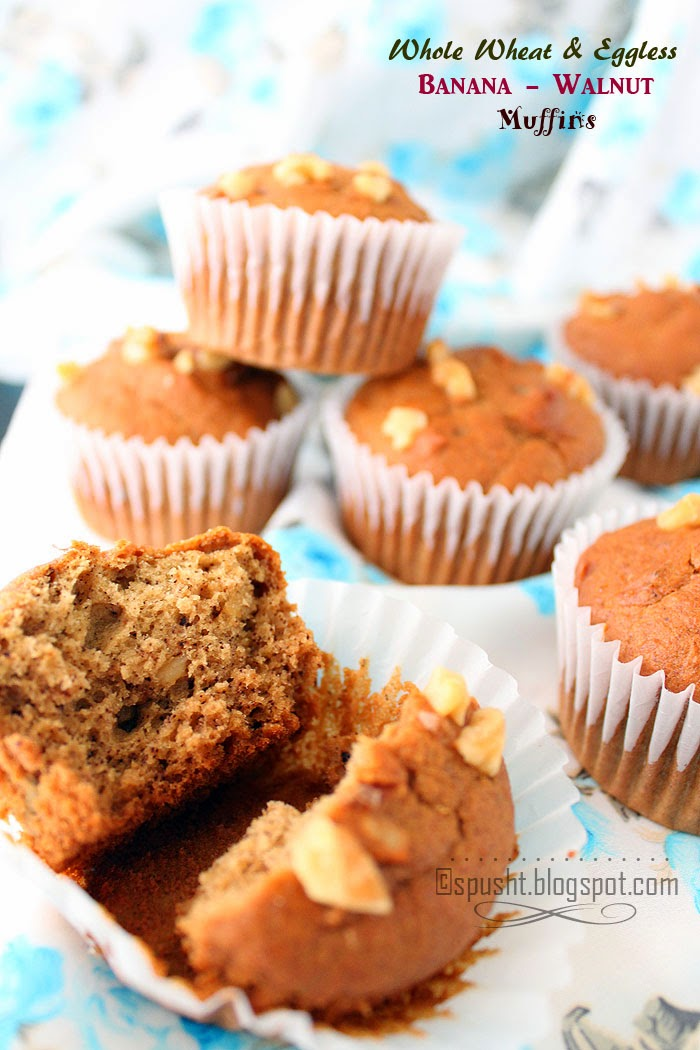 Spusht | Eggless Recipes | Banana and Walnut Muffin