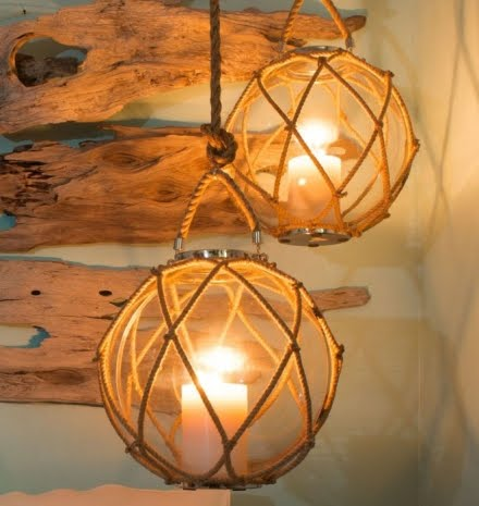 hanging candle holders with rope