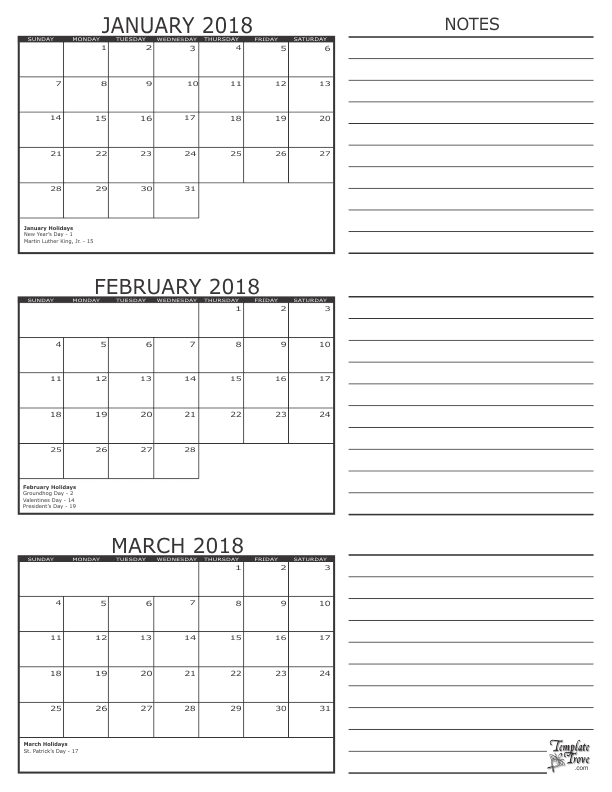 2018 quarterly calendar printable