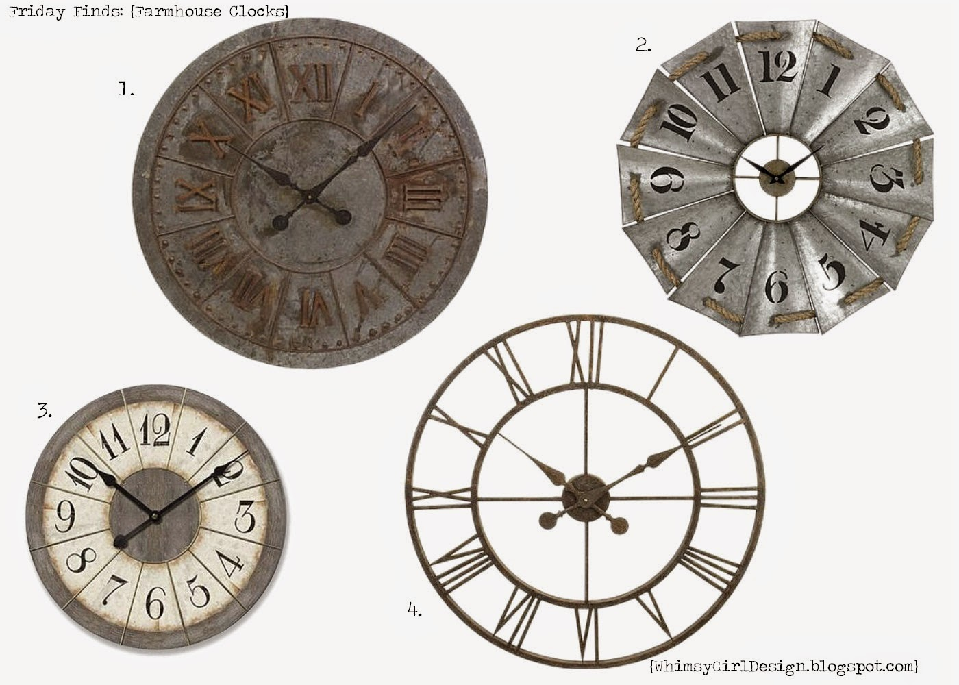 Whimsy Girl Friday Finds Farmhouse Inspired Clocks