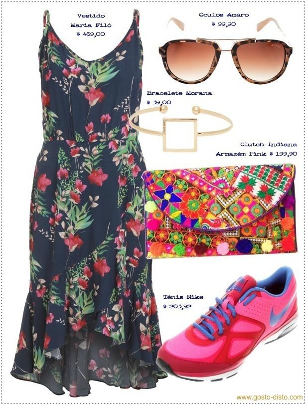 Vestido midi com tênis, clutch informal e óculos escuros