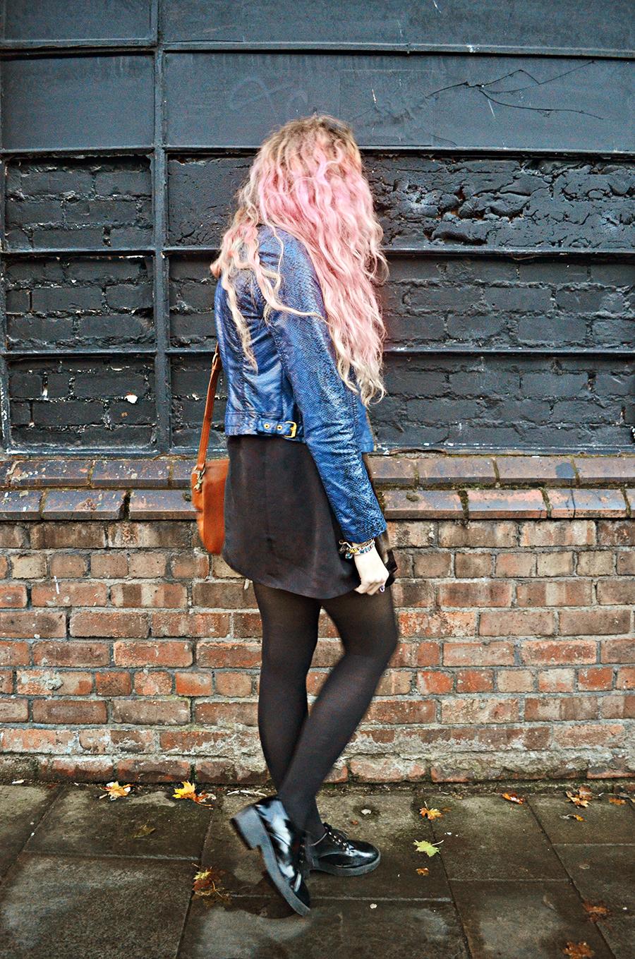 Blue Snakeskin Leather Jacket// Vintage Velvet Dress// Little White Lies Tights// Primark Patent Brogues// Asos Tan Bag// Nica Necklace// Lilac Moon Rings// Vintage, Euphoria, Oceanic