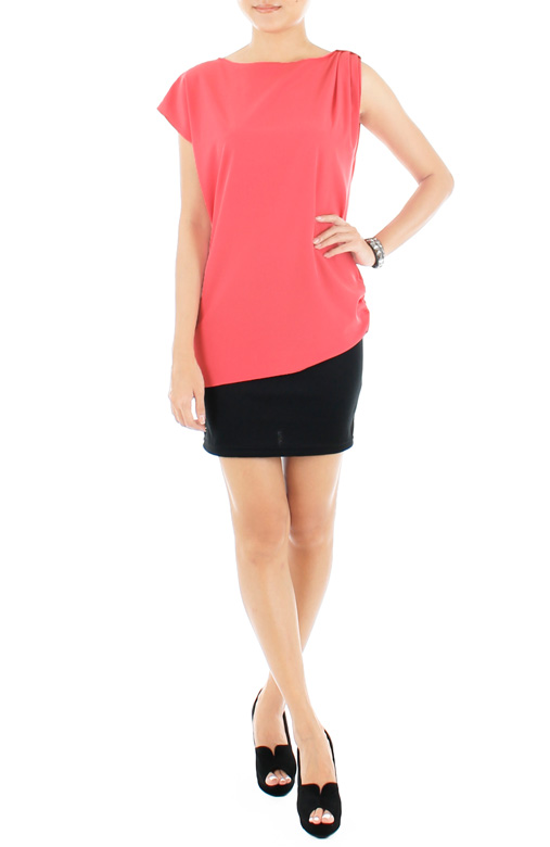 Ruche Asymmetrical Top – Pink