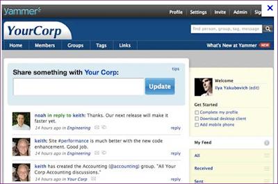 Yammer pagina principal de un microblogging para empresas