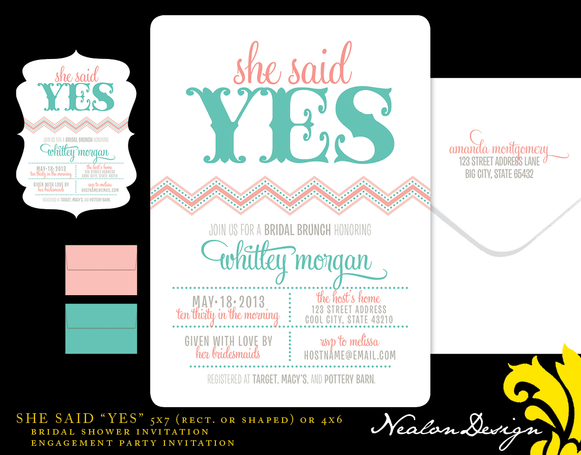 Nealon Design She Said YES Bridal Shower or Engagement Party