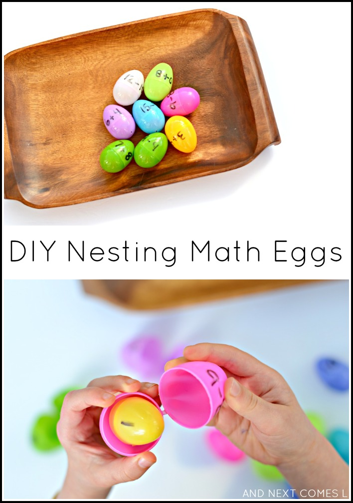 DIY nesting math eggs - a simple fine motor math tray for kids from And Next Comes L