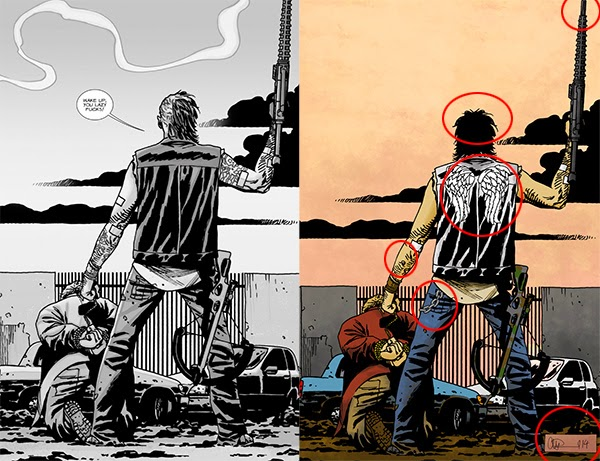 Comparativa de la portada 129 de The Walking Dead