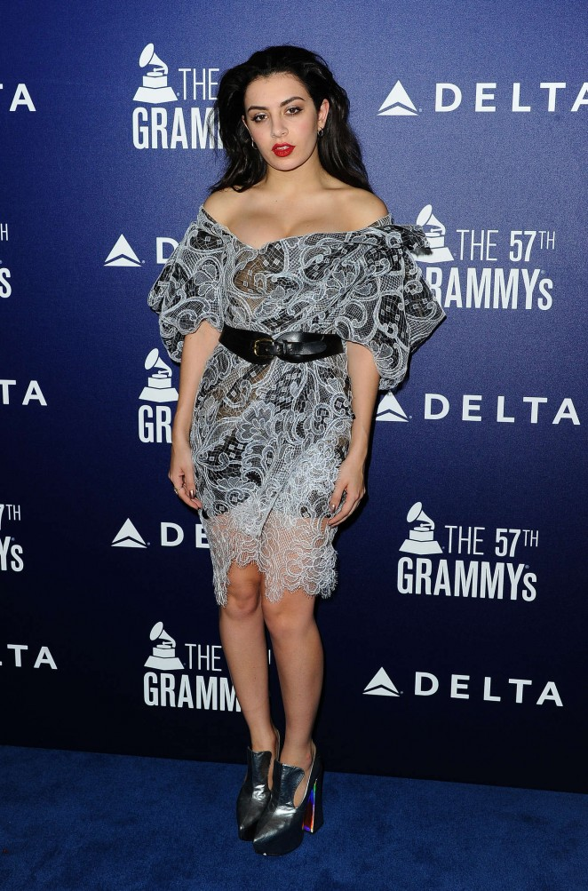 Charli XCX in an off shoulder lace dress at the 57th Annual Grammy Awards Event in West Hollywood