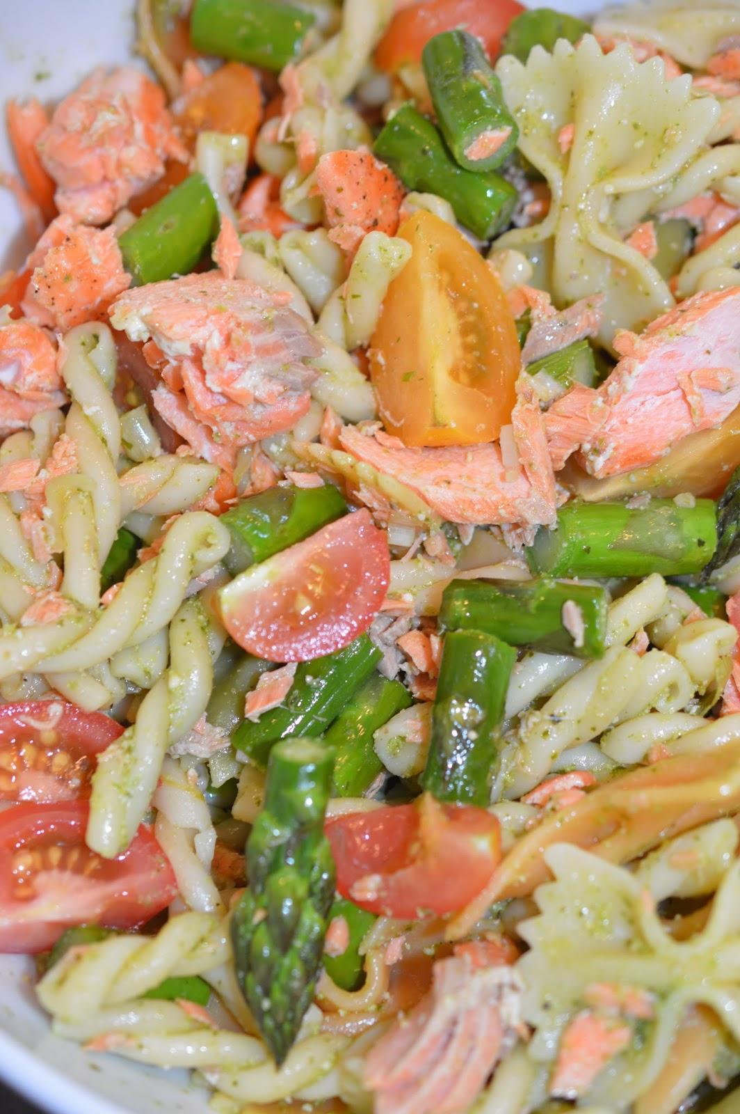 Lili popotte: Salade de pâtes au saumon, aux asperges et au pesto - Salade Pates Pesto