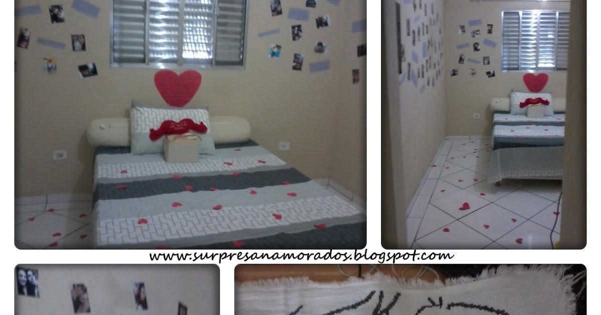 Surpresa com Fotos e Balões no Quarto do Namorado  ~ Quarto Romantico Para Namorado