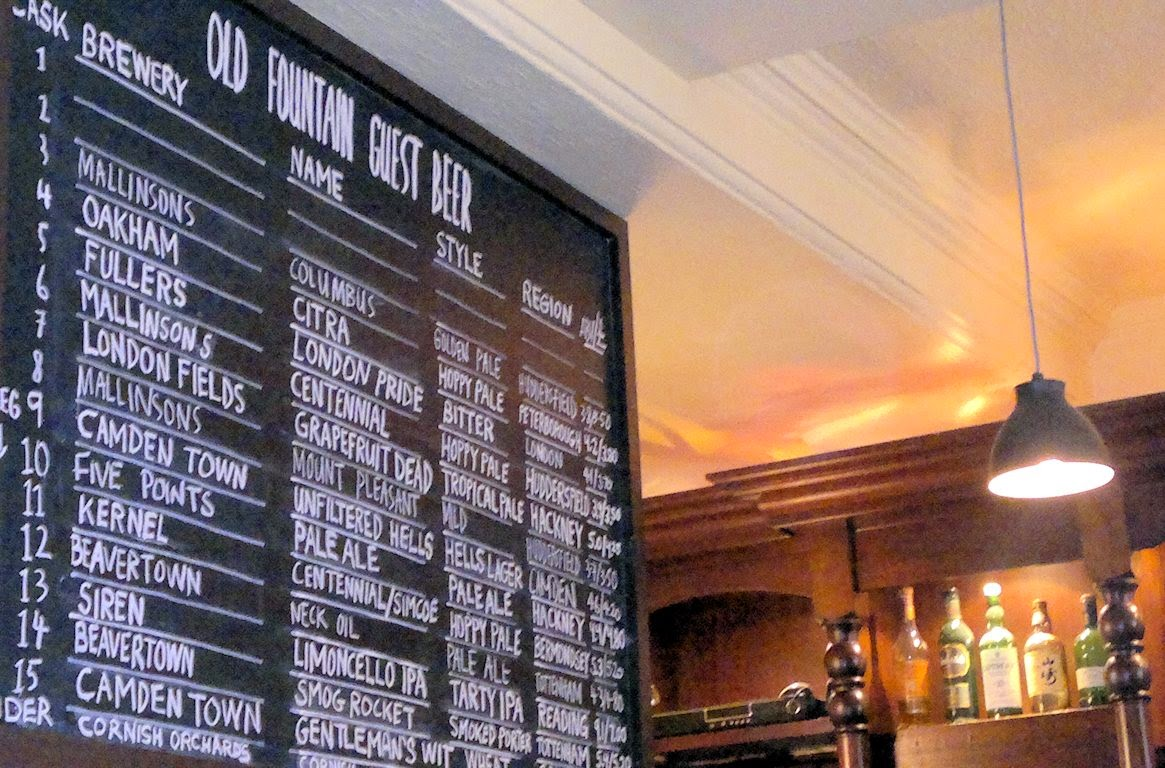 The old beer board at the Old Fountain