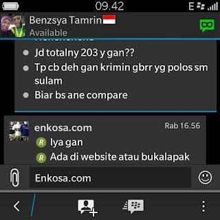 Konfirmasi total pesanan yang harus di bayrakan oleh Benzsya Tamrin di enkosa sport