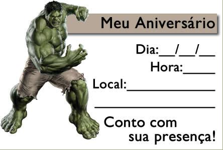 Convite Hulk 3d Aniversário Infantil Aniversário De Criança