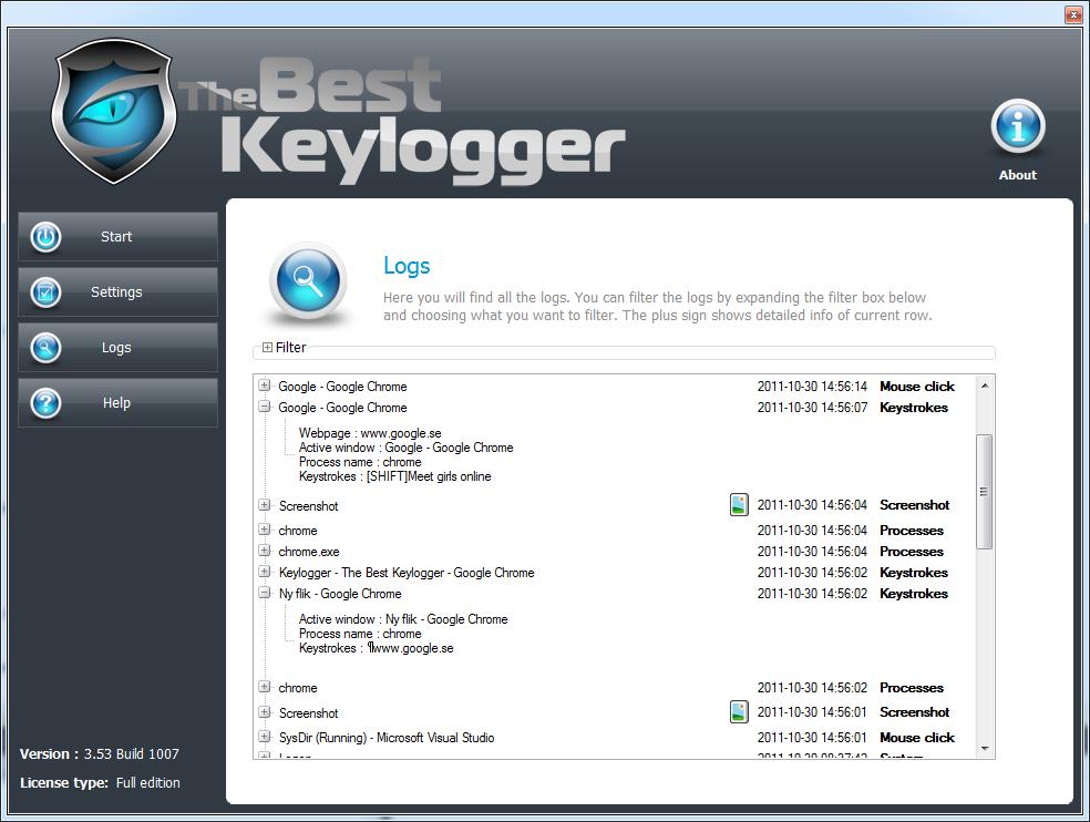 The best keylogger 3.54 build 1000 crack