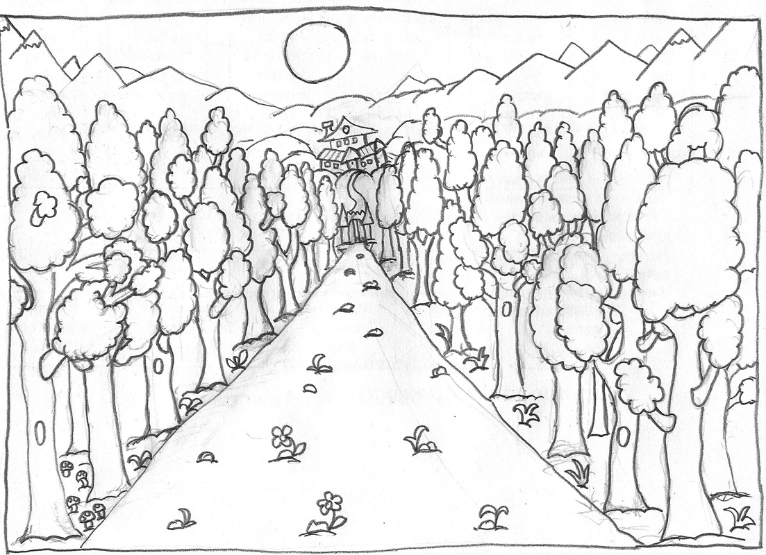 Line Art Forest : My graphic warehouse forest outlines