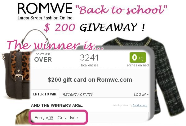 Romwe back to school giveaway winner on Fashion and Cookies