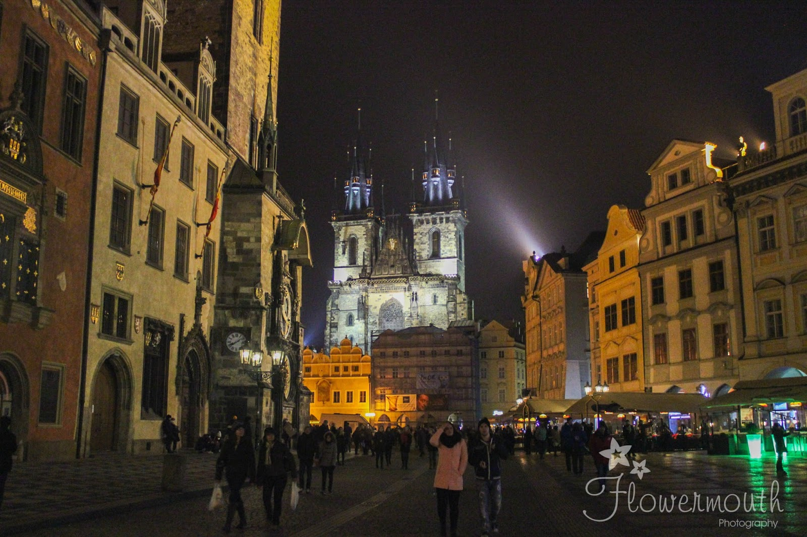 Prague Old Town Square at night time