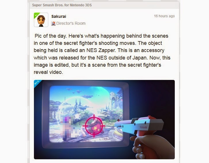Image of NES Zapper being pointed at TV screen running Super Smash Bros. for Wii U.