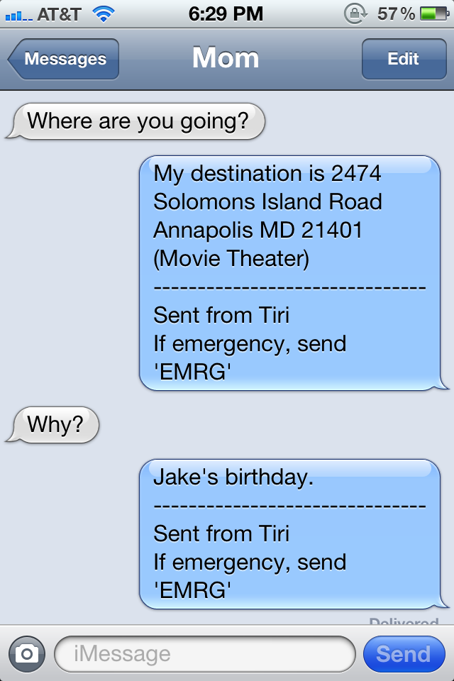This is an example of what Tiri will reply if someone text your phone while you're driving