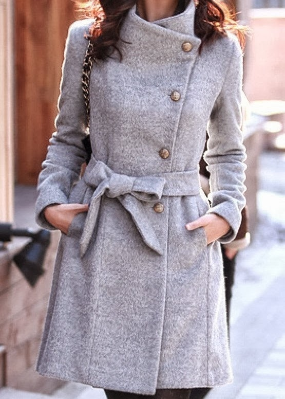 Gorgeous warm grey wool coat fashion style