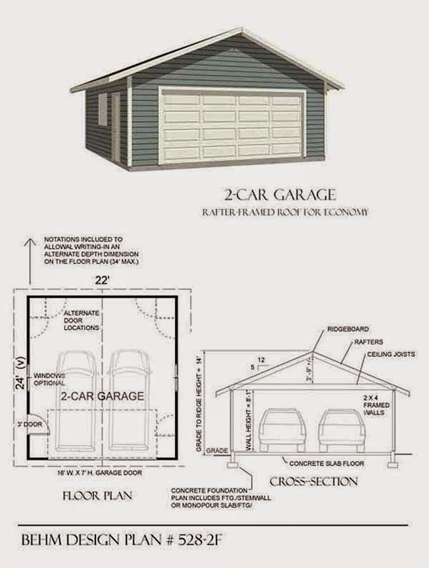 Garage plans blog behm design garage plan examples for Two car garage with workshop plans