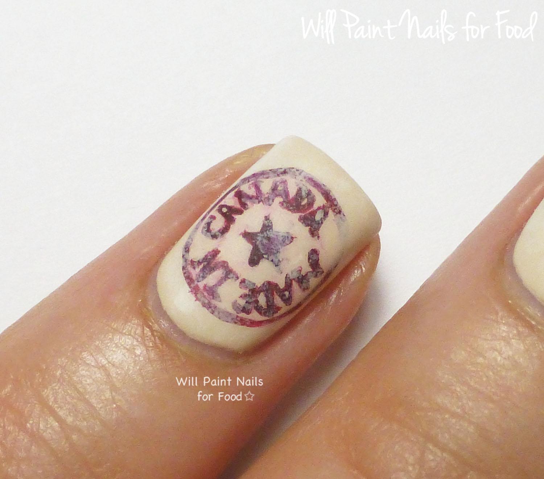 Made in Canada logo nail art (detail)