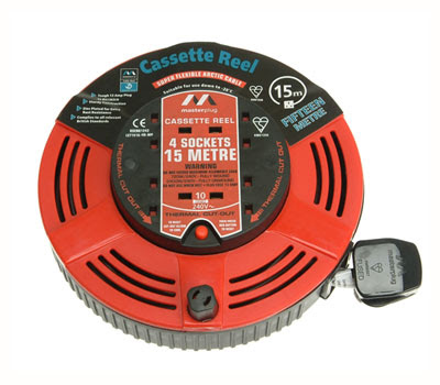 Masterplug Cassette Reel 15m long, 10A rated, 4 Sockets, Thermal Cutout CR15 cassette reel