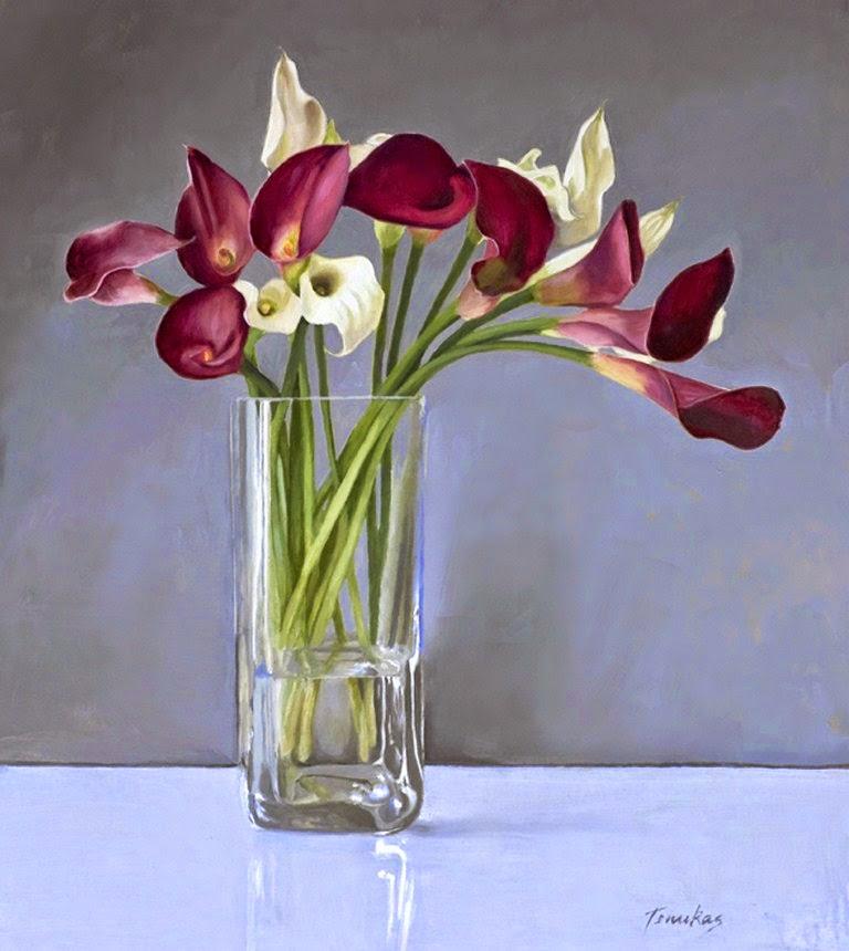 Im genes arte pinturas floreros de cristal con flores de - Fotos jarrones con flores ...