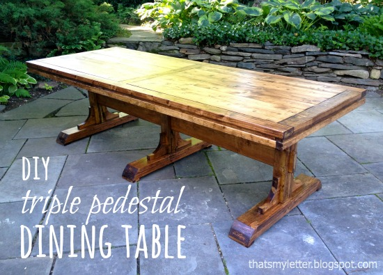 diy triple pedestal table