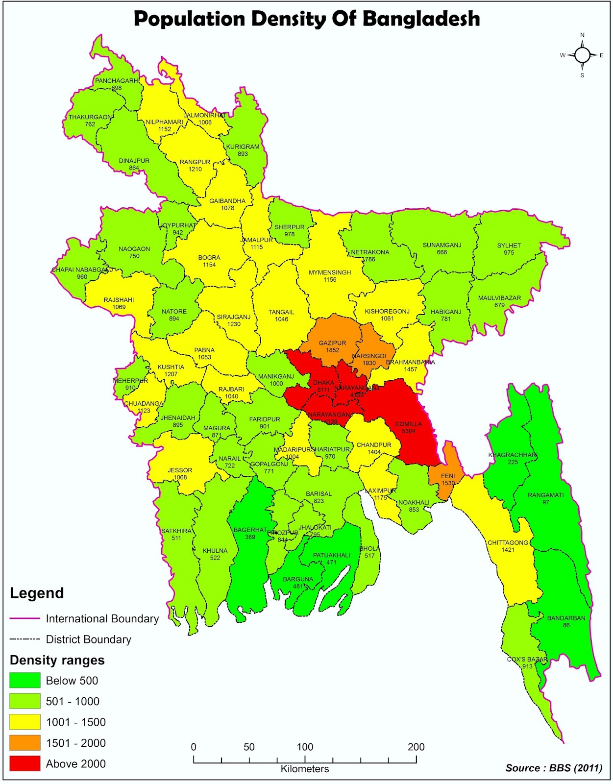 Bangladesh Density Map - Bangladesh map