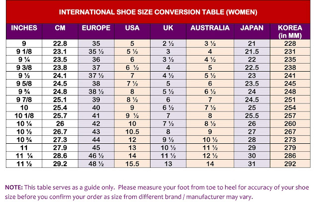 Boot conversion chart