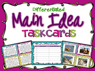 Main Idea Task Cards by Teaching With a Mountain View | TpT