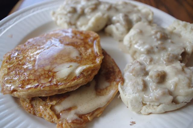 made sweet potato pancakes, and I also made biscuits and sausage gravy ...