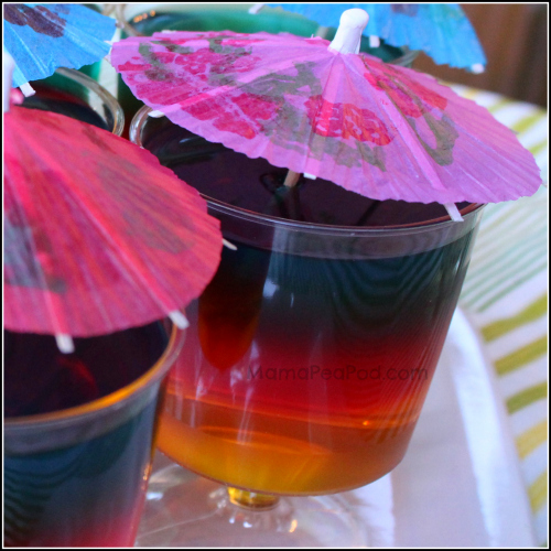 rainbow jello cups for party food