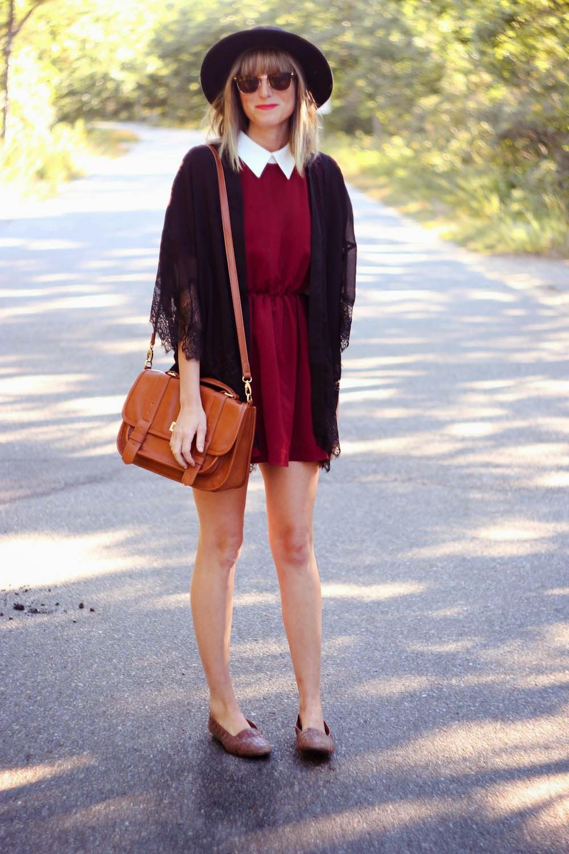 red collared dress, black felt hat, kimono, nyc vintage fashion blog