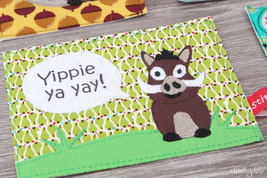 stitchydoo: Stoffkartentausch | Meine genähten Karten im Oktober - Wildschwein Keiler, Yippie ya yay!