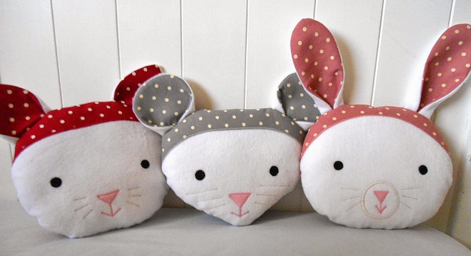 Animal Nursery Pillows : handmade by eva rose: Sweet Animal Faces Pillows for Nursery