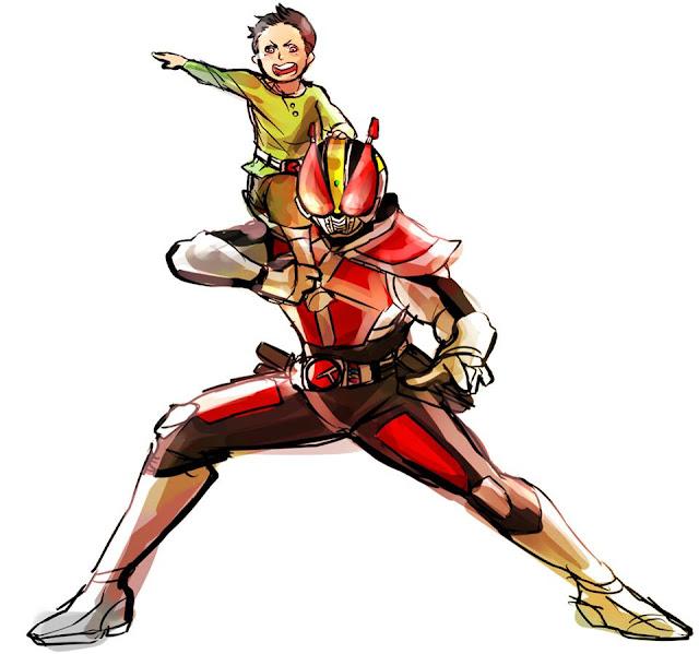 Gambar, Ilustrasi, Kamen Rider, Ksatria Baja Hitam,  Masa Kecil, Kamen Rider Den-O