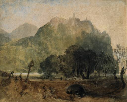William Turner's 'Drachenfels from Rhine' or 'Dragons Rock on the Rhine,' painted in 1817, depicts a rock formation and the vestiges of a 12-century castle just south of Cologne. Photo: © Tate Museum UK. Unauthorized use is prohibited.