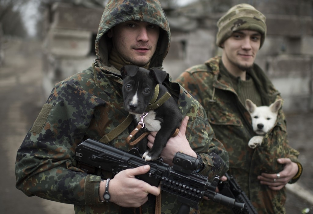 70 Of The Most Touching Photos Taken In 2015 - Ukrainian servicemen put dogs under their jackets to keep them warm in Mariupol, Ukraine. Their conflict with Russian-backed separatists claimed 5,100 lives before a tenuous ceasefire was reached.