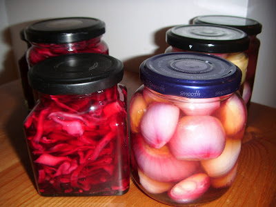 jars of homemade pickled shallots and red cabbage